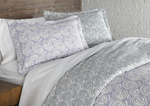 Whimsical Swirls Collection - Premium Quality, Soft, Wrinkle, Fade, & Stain Resistant, Easy Care, Oversized Duvet Cover Set, Full / Queen, Lavender