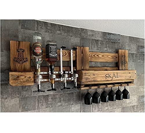 WIKINGER BAR mit Getränkespender Personalisiert Männertag Geschenk mit ALKOHOLSPENDER Wandregal Flaschenhalter Met Odin Thor Bar groß aus Paletten Holz