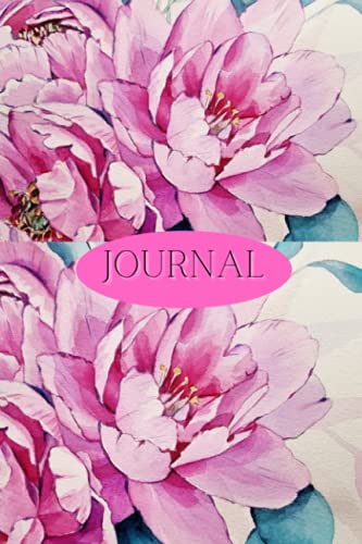JOURNAL NOTEBOOK: 150 White Lined Pages, Gratitude Journal Pink Floral Cover, Matte Finish