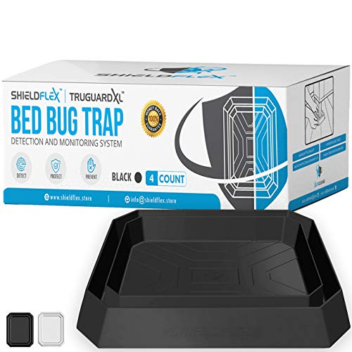 Bed Bug Trap — 4 Pack | TruGuard XL Bed Bug Interceptors Black | Extra Large Bed Bug Traps for Bed Legs | Reliable Insect Detector Interceptor and Monitor for Pest Control and Treatment