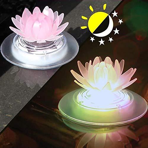 Luces solares flotantes para estanques, luces solares flotantes de loto, luz nocturna LED que cambia de color IP65, impermeable, decoración de piscinas o estanques de jardín (1 pieza)