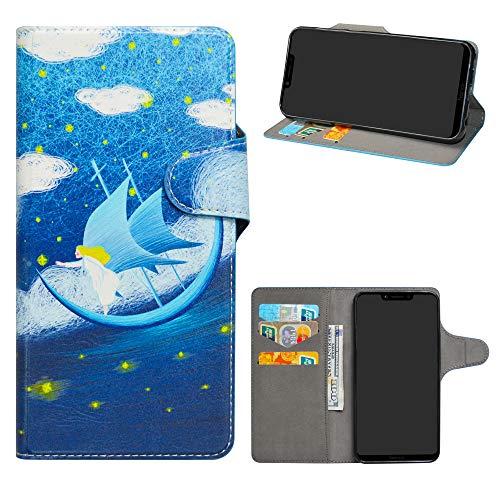 HHDY Honor Play Cover, Flip Wallet Case PU Pelle con Carte Slot Credito Portafoglio Supporto Stand Schema Custodia per Huawei Honor Play,Dream Voyage