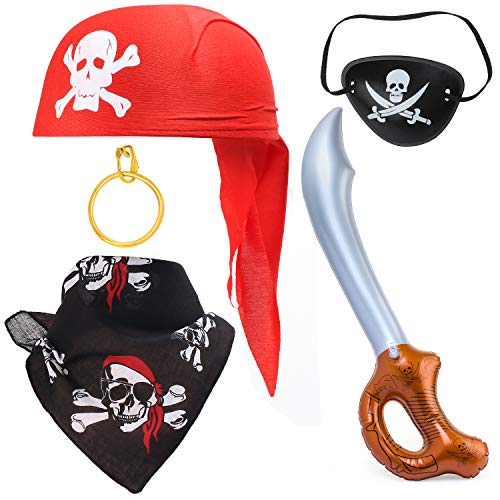 Haichen 5 Pieces Pirate Costume Accessory Set Skull Hat Bandana Pirate Eye Patch Hook Earring Inflatable Sword Halloween Pirate Party Accessories Kit (Red Hat Set)