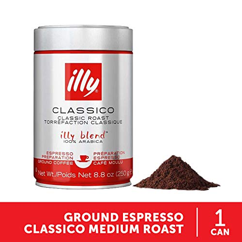 illy Classico Espresso Ground Coffee, Medium Roast, Classic Roast with Notes of Chocolate & Caramel, 100% Arabica Coffee, All-Natural, No Preservatives, Ground for Espresso Machines, 8.8 Ounce