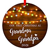 SICOHOME First Christmas as Grandma & Grandpa 2021,3' Rustic 1st New Grandparents Keepsake Ornament,Farmhouse Collectible Present