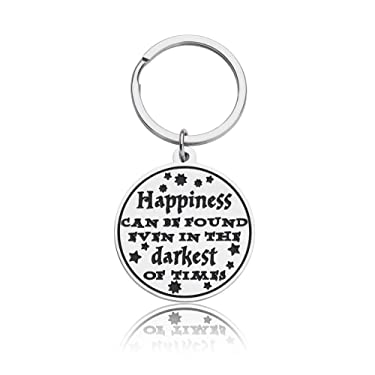 Inspirational Gifts 2020 Graduation Keychain for Son Daughter Best Friend Encouragement Gift for Women Men Harry Potter Fans Birthday Key Ring Happiness Can Be Found Christmas