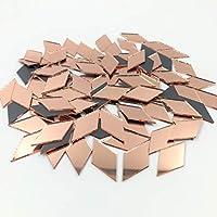 NUORUI 200個 1インチ x 1/2インチ ダイヤモンド型 ミラー モザイクタイル ローズゴールド クラフトミラー
