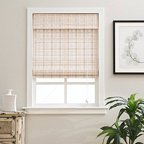 Arlo Blinds Whitewash Light Filtering Bamboo Roman Shades Blinds with Valance - Size: 21