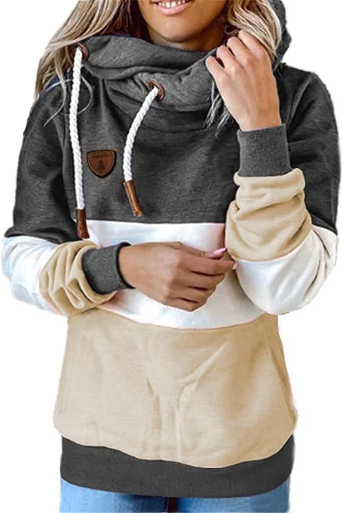 ADKHF Hoodies Women Fashion Autumn Patchwork Hoods Women's Spell Have Cap Fleece Sweatshirt Clothing (Color : Black, Size : 3XL Code)