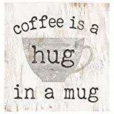 P. Graham Dunn Coffee a Hug in a Mug Whitewash 3.5 x 3.5 Inch Pine Wood Tabletop Block Sign