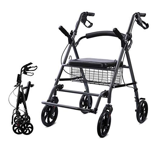 YXX- Rollator Gehhilfen Senioren Faltbare Senioren-Rollator-Walker Mit Sitz, Korb Und Fußstütze, Medizinischer Allrad-Walker Für Erwachsene, Ältere Menschen Und Männer Gehwagen