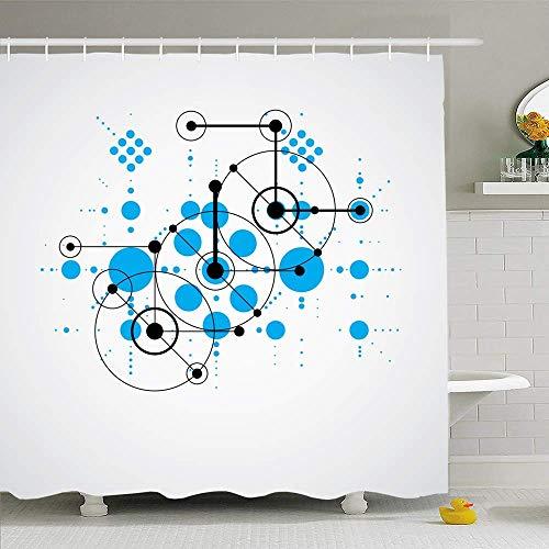 Conjunto de cortina de ducha Ahawoso con ganchos Composición de fondo Bauhaus Azul modular para tecnología 1960S Texturas de plantilla de estilo retro 1970S Tela de poliéster impermeable Decoración de