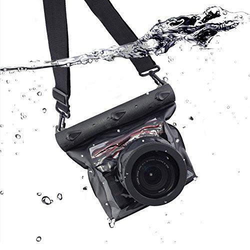 Tteoobl DSLR Underwater Universal Waterproof Housing Case Waterproof Camera Bag Designed for Outdoor / Underwater Activities, Compatible for Canon / Nikon / Fuji / Pentax / Samsung / SONY(Black)