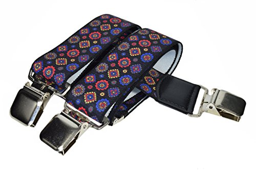 Olata Unisex Bretelle regolabili, Extra Forte Y-Forma con Stampato Modelli, 4cm larghezza - Nero con Blu, Rossi & Oro Disegno