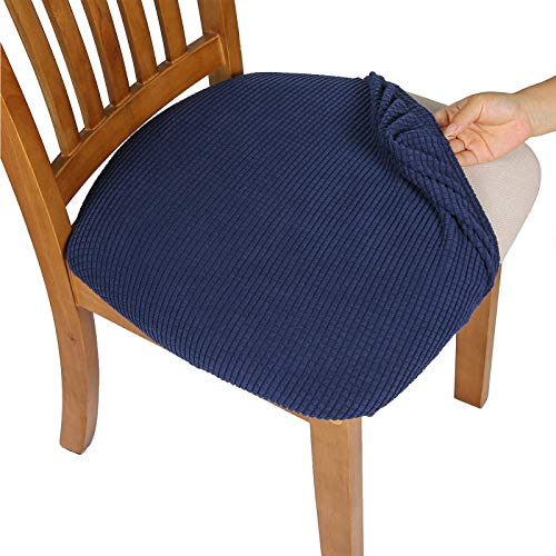 Comqualife Dining Chair Covers, Stretch Jacquard Dining Chair Protector, Removable Washable Anti-Dust Upholstered Chair Seat Cover for Dining Room, Kitchen, Office(Set of 1, Navy Blue)