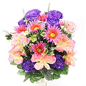 Artificial Spring Mixed Flower 30 stem Hibiscus/ Rose Mixed Bush , ABN1B014-PUR-ORCHID