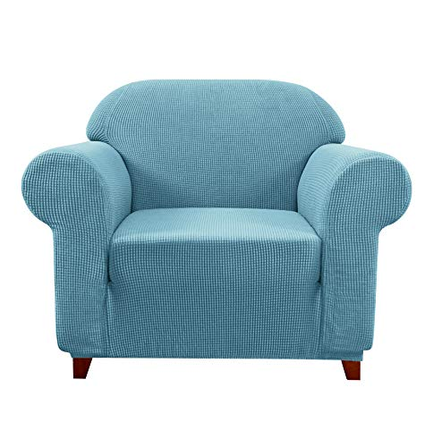 Subrtex Sofa Cover 1-Piece Stretch Couch Slipcover Soft Couch Cover Loveseat Slipcover Armchair Cover Furniture Protector Machine Washable(Small, Steel Blue) -  CASBTSFLB001