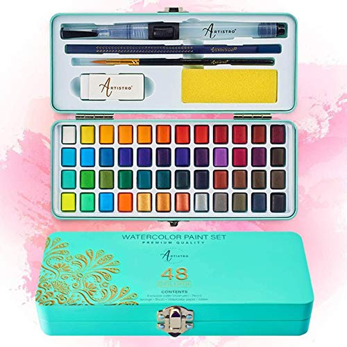 Artistro Watercolor Paint Set, 48 Vivid Colors in Portable Box, Including Metallic and Fluorescent Colors. Perfect Travel Watercolor Set for Artists, Amateur Hobbyists and Painting Lovers.