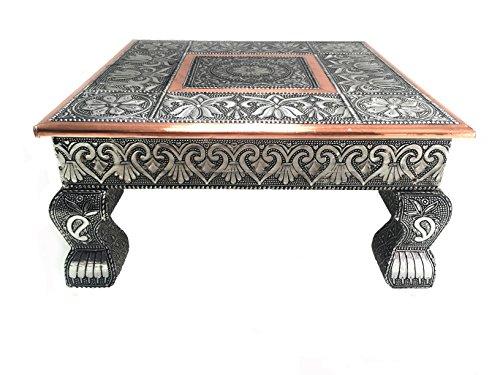 eRadius Bajot Bajhat Hindu Pooja - Mesa baja de cobre oxidado, 30,48 x 30,48 cm