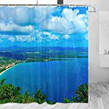 Martinique Shower Curtain Travel Bathroom Decor Set with Hooks Polyester 72x72Inch(YL-03804)