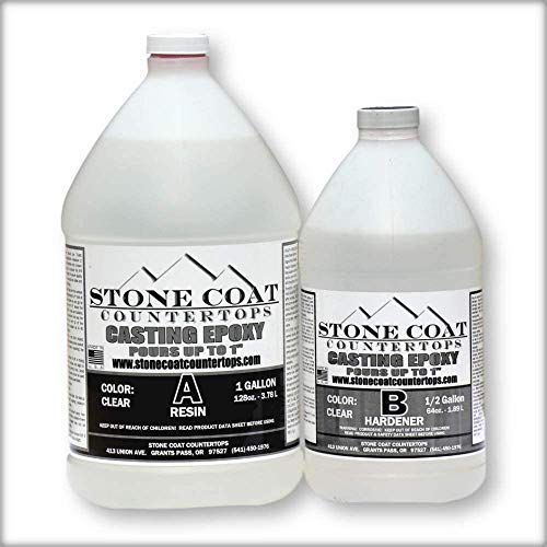 Stone Coat Countertops Casting Epoxy (1.5 Gallons) - Deep Pour Epoxy for Making River Tables and Filling Large Voids Up to 1 Inch Deep, Clear and Colorable
