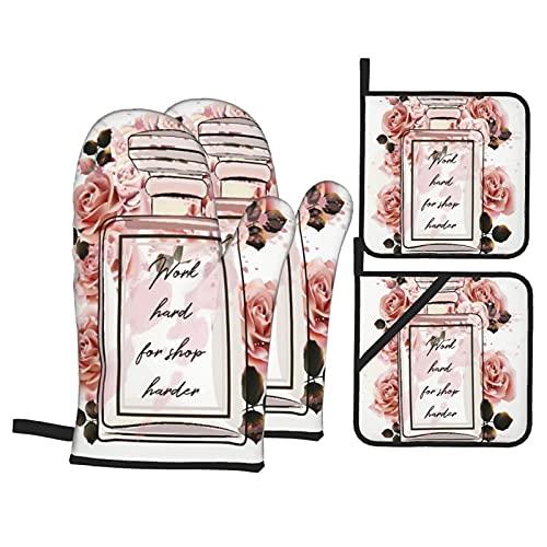 Juego de 4 Manoplas para Horno y Soportes para ollas,Hermosas Botellas de Vidrio de Perfume Rosa de Moda y Rosas en Estilo Acuarela,Guantes de Barbacoa con