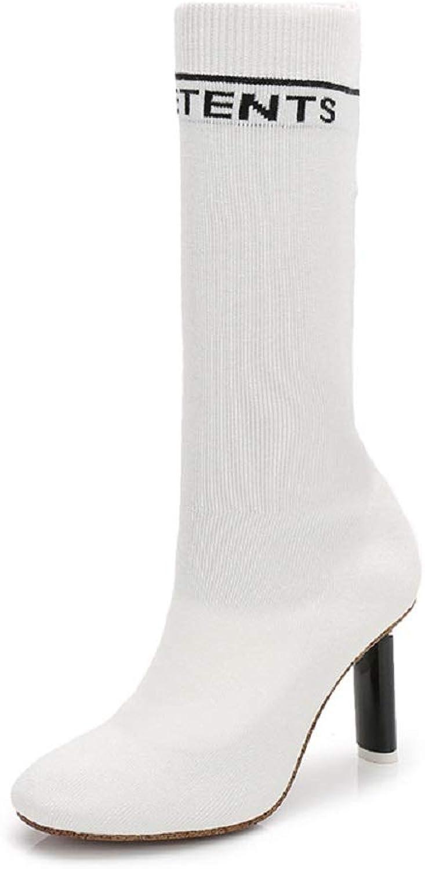 Gaslinyuan Elastische Stiefel Frauen Frauen Kitten Heel Spitz Mode Schuhe (Farbe   Weiß, Größe   EU 40)  authentisch