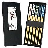 5 pares de palillos de bambú naturales reutilizables con impresión única, palillos lavables de...