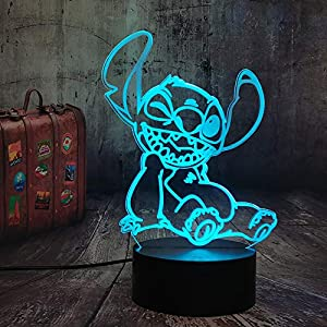 Cartoon Cute Stitch Figure Baby 3D Lamp Illusion Night Light Led Colorful Nightlight for Kids Child Bedroom Decor Light USB Table Lamp Stitch Dog Xmas Gift for Baby Kids