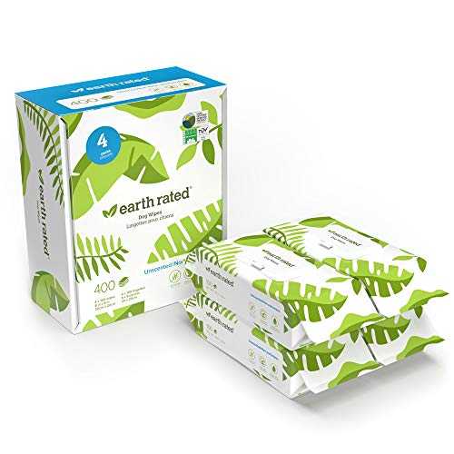 Earth Rated Dog Wipes 400 PlantBased and Compostable Wipes for Dogs amp Cats USDACertified 99 Percent Biobased Hypoallergenic Unscented 8x8 Deodorizing Grooming Pet Wipes for Paws Body and Butt
