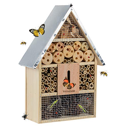 Woodside Wooden Insect Hotel, Outdoor Bug Shelter, Natural Bee House with Steel Roof