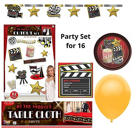 At The Movies Hollywood Cinema Theater Party Supplies Pack - Birthday, Movie Night, Costume Party, Dinner Theater - Tableware and Decorations Kit for 16