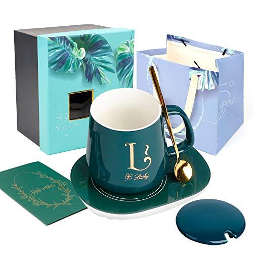 UHAPEER Kaffeetassen Geschenke Set, Alphabet Porzellan Tasse Tassen mit wärmeren Pad, Keramikdeckel, Löffel, Temperaturregler Heizung Untersetzer, Grußkarte, Geschenkbox für Muttertag, Frau, L