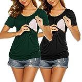 UNibelle Camiseta de lactancia de manga corta para mujer, para embarazo, maternidad, tallas S-XXL 2-negro y verde oscuro L