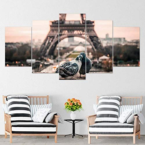 Piy Painting 5 Piezas Cuadro sobre Lienzo Imagen de la paloma de la torre Eiffel de la ciudad de París Impresión Pinturas Murales Decor Dibujo con Marco Fotografía para Oficina Aniversario200x