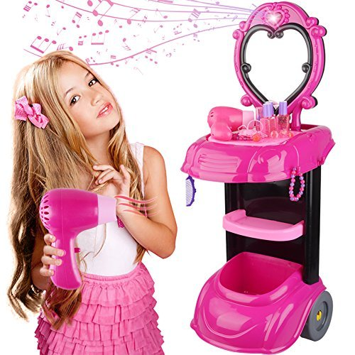 BFOEL Kids Vanity Trolley Playset, Dresser Beauty Pretend Play & Salon Vanity,Dress-up Make up Toy Kit with Musical Flashing Lights,Mirror,Cosmetics,Working Hair Dryer