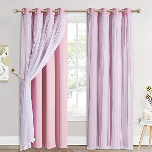 PONY DANCE Girls Curtains with Sheer Overlay - Pink Blackout Curtains Mix & Match with White Sheer Drapes Elegant Room Darkening Curtains for Nursery/Bedroom (52x95, Set of 2, Free Tiebacks)
