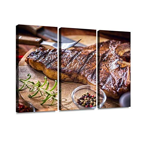 HABEN ARTWORK Roasted BBQ t Bone Steak Flaming fire Charcoal Print On Canvas Wall Artwork Modern Photography Home Decor Unique Pattern Stretched and Framed 3 Piece