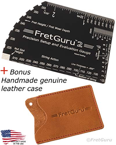 FretGuru String Action Gauge Guitar Ruler Precision 8-in-1 Fret Rocker Luthier Tool guitarist gift #BONUS LEATHER CASE# precise CNC Machined, Diamond Honed, Polished Edge = NO SCRATCHED FRETS
