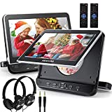 Dual Car DVD Player with Headrest Mount, ARAFUNA Two Headrest DVD Player with 2 Headphones, Support 1080P Video, HDMI Input, AV in/Out, Include AC Adapter, Car Charger, RCA Cable, AV Cable (10.1' x 2