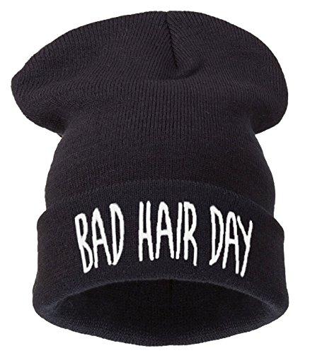 4sold Bonnet Inscription Bad Hair Day Noir bhd Black White Taille Universelle