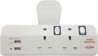 Innoteck 2Way Individual Switched Wall Socket Adaptor Neon Indicator Surge Protected Plus Built-in Dual USB Ports 5V 2.4A ...