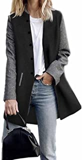 Women's Casual Patchwork Long Sleeve Button Cardigan Jumper Jacket Coats