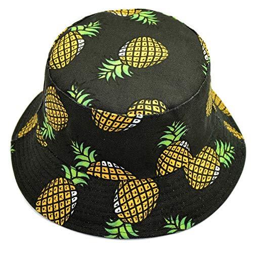 HeiHy Obst Muster Sonnenhüte Eimer Hut Fischer Hüte Strandhut Outdoor Hut Schlapphut für Männer und Frauen Ananas Schwarz