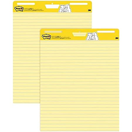 Post-it Super Sticky Easel Pad, 25 in x 30 in Sheets, Yellow Paper with Lines, 30 Sheets/Pad, 2 Pads/Pack, Great for Virtual Teachers and Students (561)
