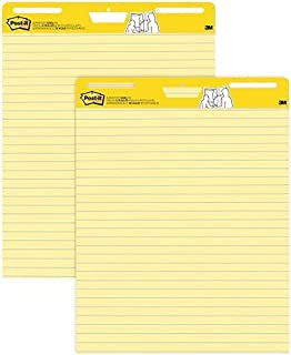 Post-it Restickable Flip Chart Super Sticky Easel Pad, 635mm x 775mm, Yellow Ruled, 2 Pads, (MMM561)
