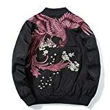 Embroidered Jacket Fashion Bomber Jackets Winter Warm Coat Mens Pilot Windbreaker Jackets Male Autumn Thin Coats Black red XXL