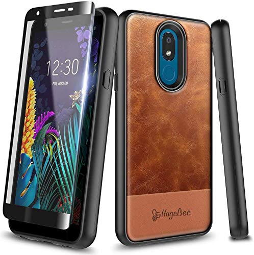 E-Began Case for LG K40 LMX420, LG Solo 4G LTE L423DL/K12 Plus/X4 2019/Xpression Plus 2 (AT&T)/Harmony 3 with Tempered Glass Screen Protector, Premium Cowhide Leather Shockproof Hybrid Case -Brown