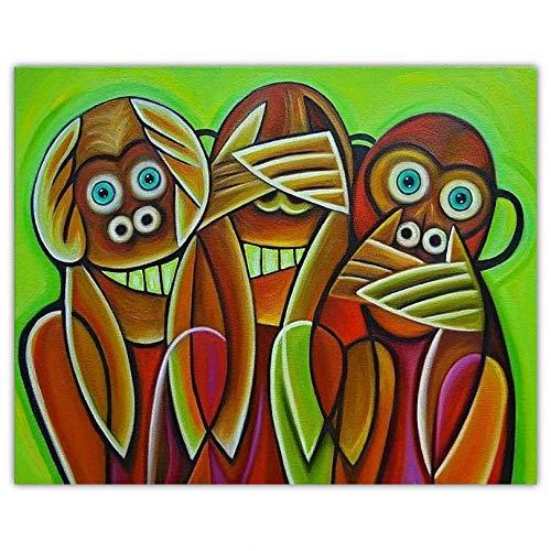 DIY Pintar por números Art photo abstrait singe peinture pintura de lienzo por números para adultos Con pincel y pintura acrílica, pintura para adultos por números, accesorios40x60cm(Sin marco)