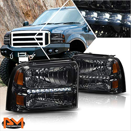 [LED DRL] Headlight Headlamps Assembly Set Compatible with 05-07 Ford F250-F350...